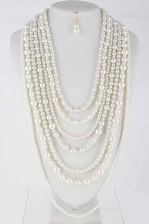Mixed Faux Pearl Long Necklace Set **Available for Next Day Shipping**
