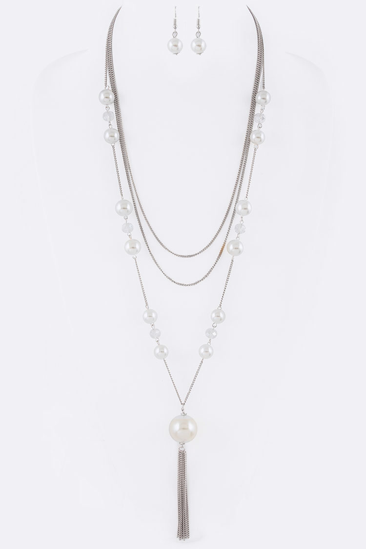 Pearl Accent Chain Necklace Set