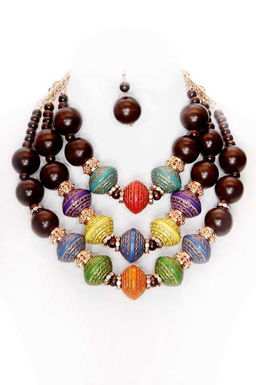 Round Multi Colored Wood Bead Graduated Necklace Set **Available for Next Day Shipping**