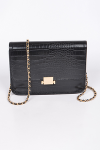 Square Embossed Clutch **Black Available for Next Day Shipping**