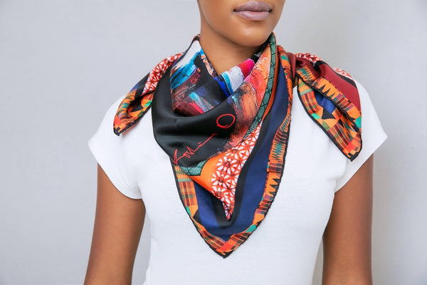Black African Head Painting Scarf