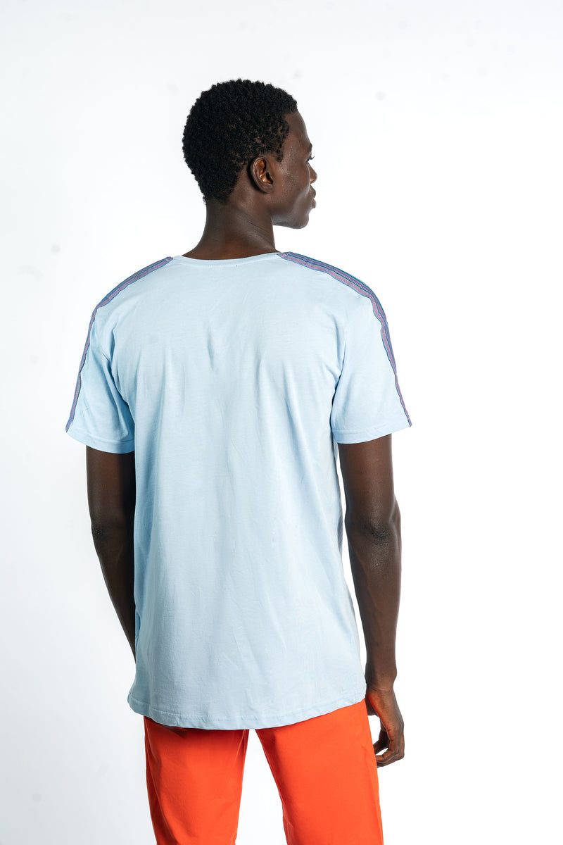 Light Blue Kente Stripe Tshirt