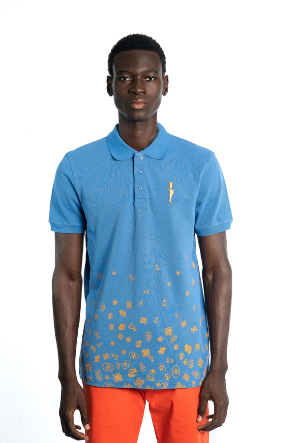 Blue Adinkra Rising Polo T-Shirt
