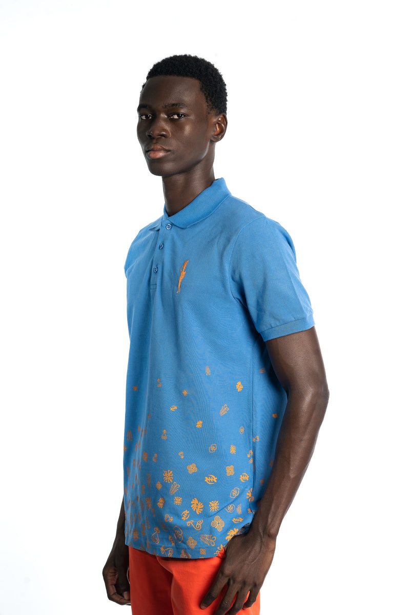 Blue Adinkra Rising Polo