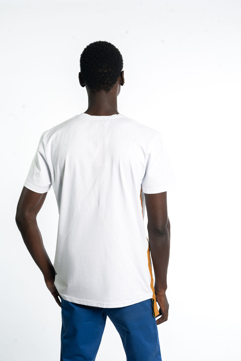 White  Kente Stripe Tshirt