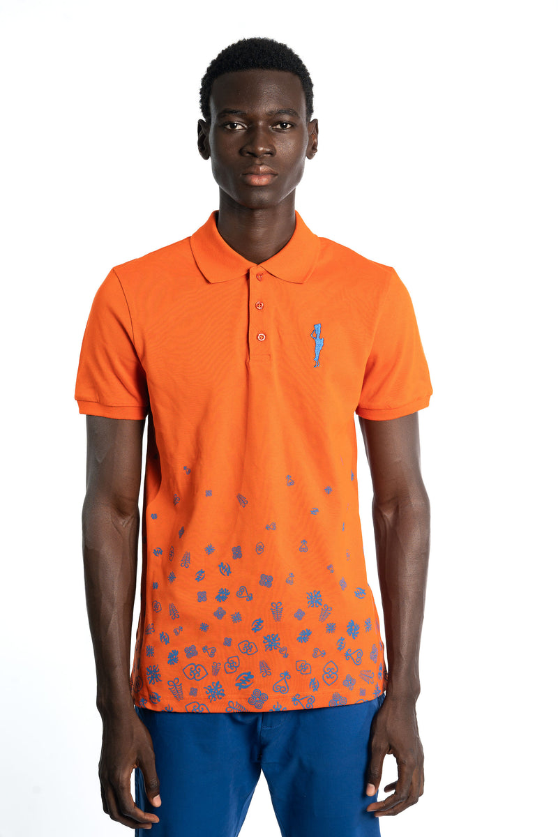 Orange Adinkra Rising Polo