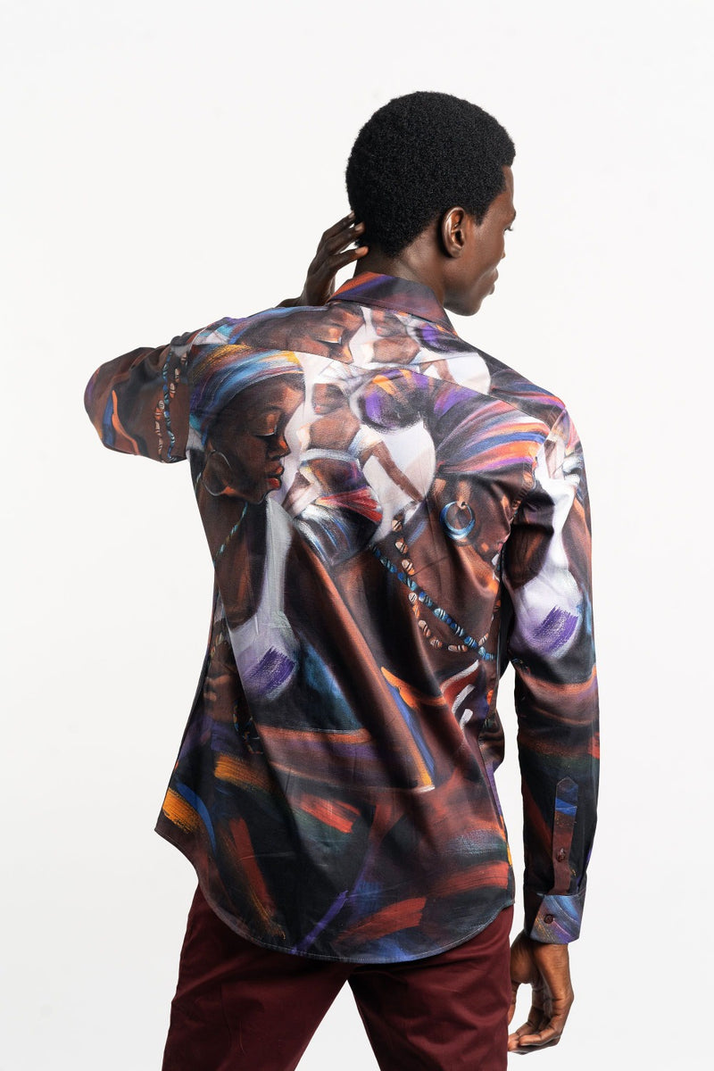 African Art Painting Zipper Shirt