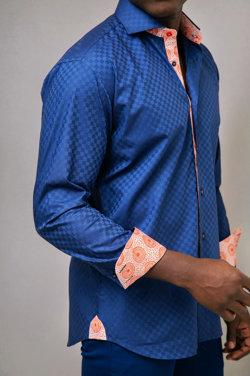 Blue Textured Cotton Shirt