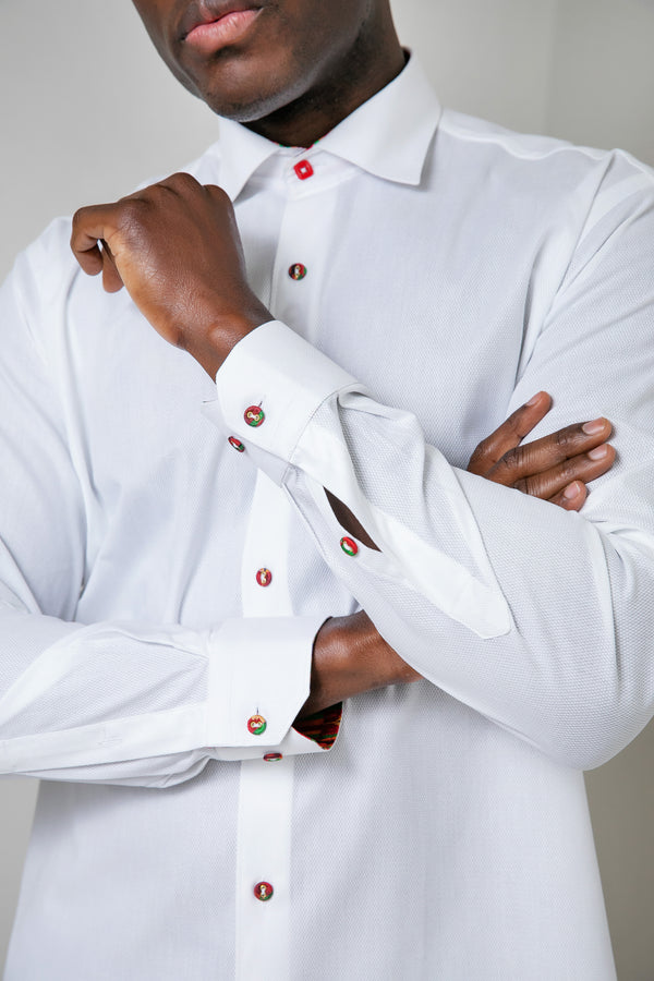 PEARLY WHITE KENTE BUTTON SHIRT