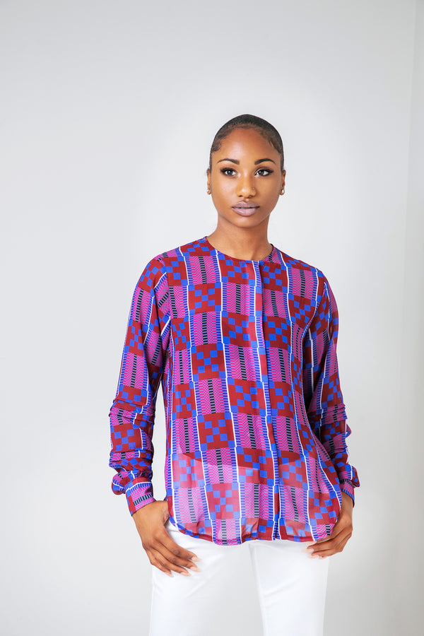 Kente Bow Chiffon Blouse