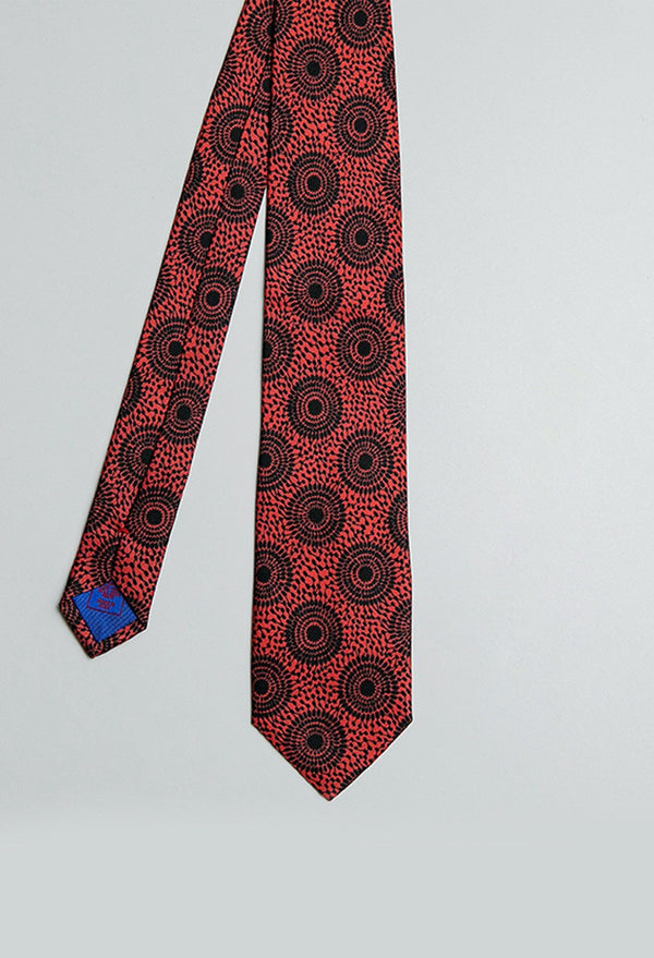 Fuchsia Pink And Black Ankara Print Silk Tie