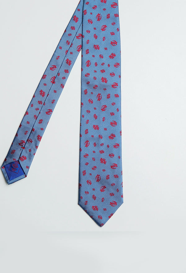 Light Blue Adinkra Woven Jacquard Tie