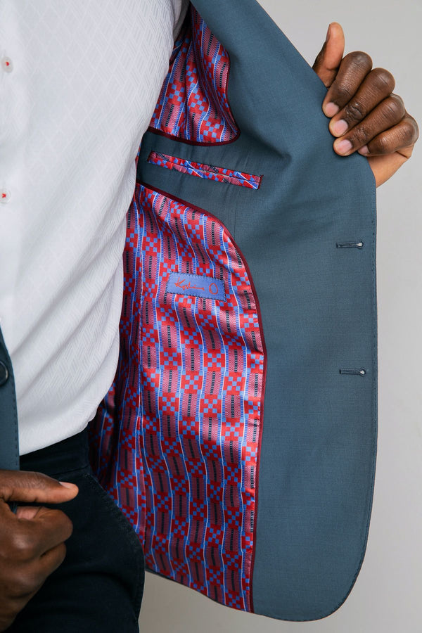 Egyptian Blue Kente Print Blazer