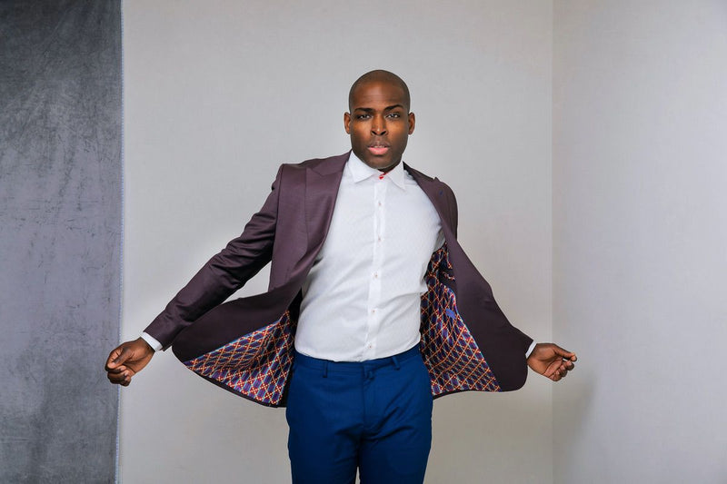 Boysenberry Kente Print Blazer