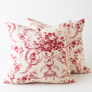 raspberry toile pillows