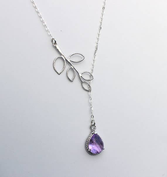 Lavender Lariat Necklace Purple Lilac-Jewelry & Watches-humblys.com