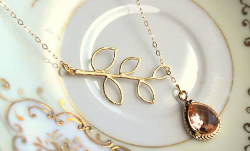 14k Blush Champagne Lariat Leaf Necklace-Jewelry & Watches-humblys.com