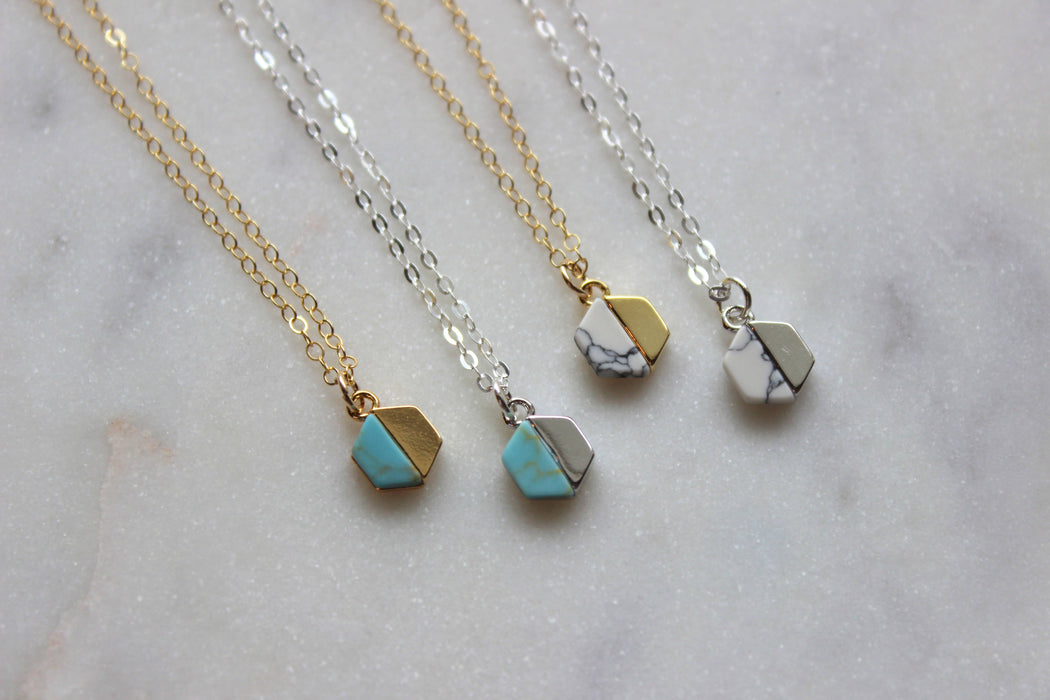 Howlite Hexagon Charm Necklace-Jewelry & Watches-humblys.com