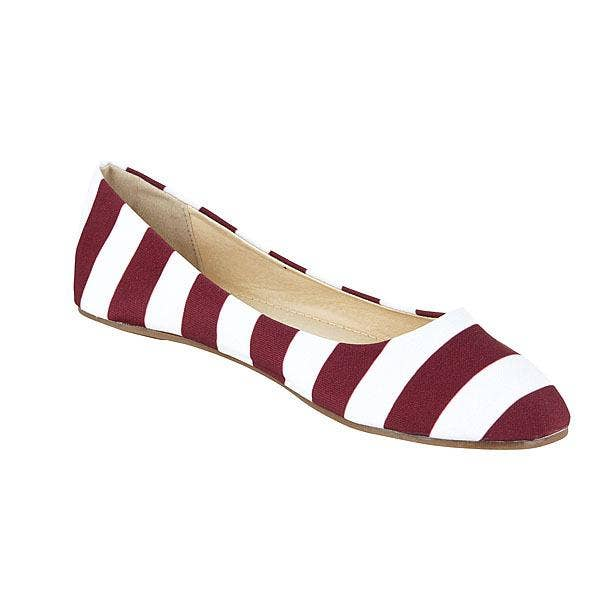 Women's Maroon and White Flats-Footwear-humblys.com