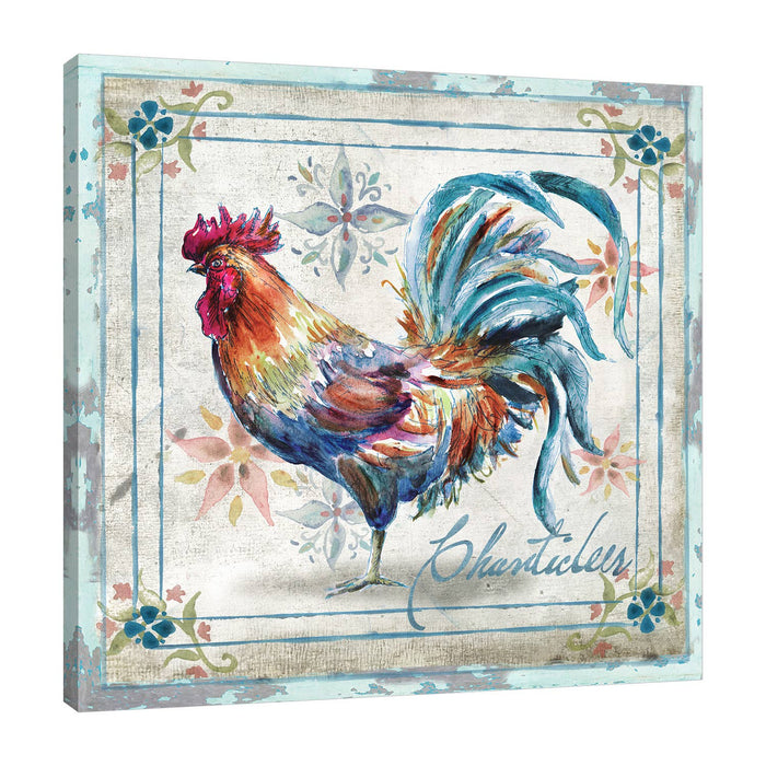 Watercolor Rooster Gallery Wrapped Canvas Art-Art-humblys.com