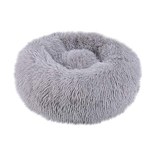 Thenxin-Pet Bed Luxury Soft Long Plush Pet Cushion for Cat and Dog Warming Autumn Winter Indoor Sleeping Round Donut Cuddler(Gray,XL)-Home-humblys.com