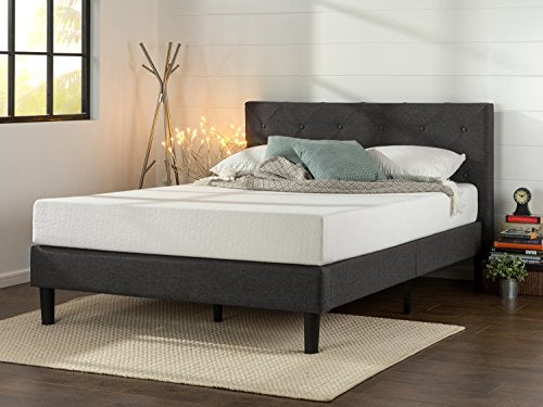 Zinus Shalini Upholstered Diamond Stitched Platform Bed / Mattress Foundation / Easy Assembly / Strong Wood Slat Support / Dark Grey, King-Furniture-humblys.com
