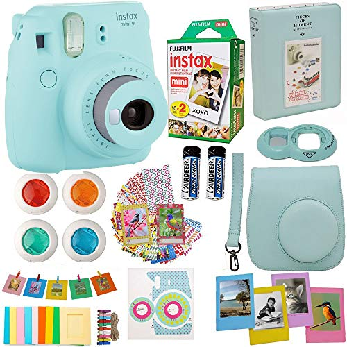 Fujifilm Instax Mini 9 Instant Camera Ice Blue + Fuji Instax Film Twin Pack (20PK) + Blue Camera Case + Frames + Photo Album + 4 Color Filters More Top Accessories Bundle-Camera-humblys.com