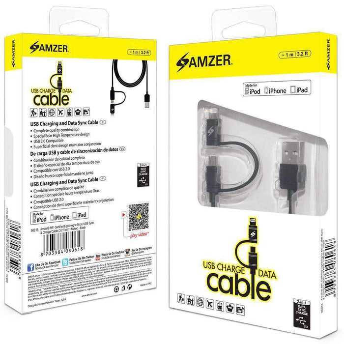 Amzer Apple MFi Certified 2-1 Sync & Charge-Electronics-humblys.com