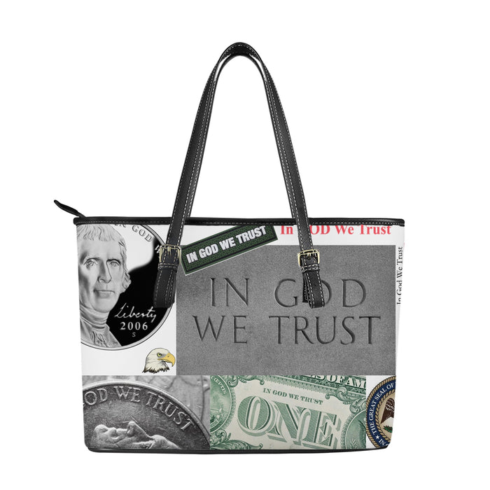 """In God We Trust"" Vegan Leather Tote Bag!-Leather Tote Bag-humblys.com"