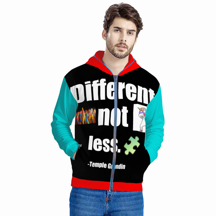 """Different, not less"" Autism Awareness Light Up Hoodie Jacket-Clothing-humblys.com"