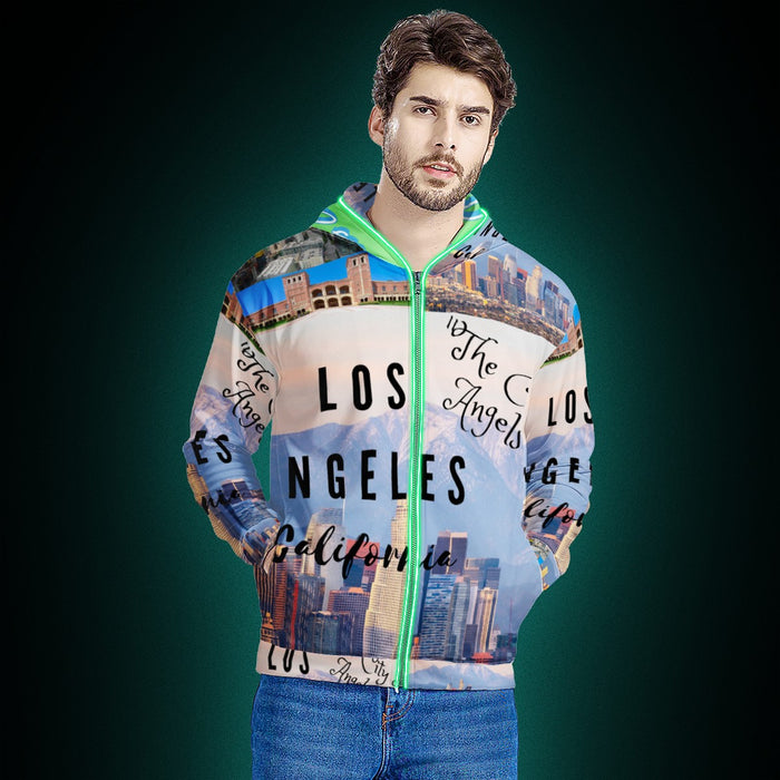 Los Angeles The City of Angels LED Light Up Hooded Jacket!-Women-humblys.com
