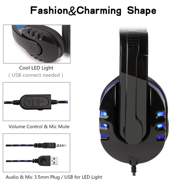Gaming Headset for PC/Mac/PS4 Blue/Red-gadgets-humblys.com