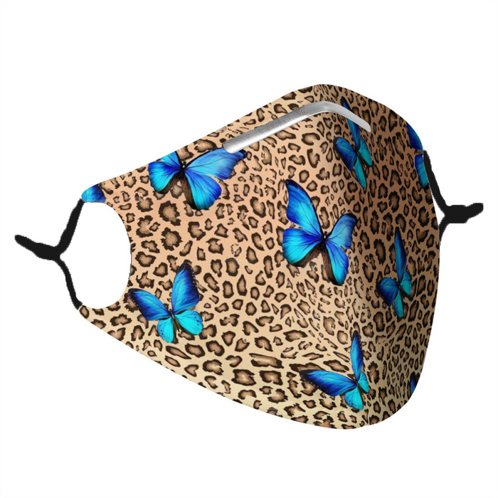 LEOPARD & BUTTERFLY - MASK WITH (4) PM 2.5 CARBON FILTERS-Accessories-humblys.com