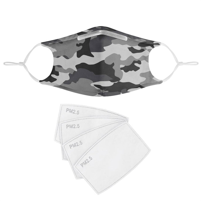 GRAY CAMO - MASK WITH (4) PM 2.5 CARBON FILTERS-Accessories-humblys.com