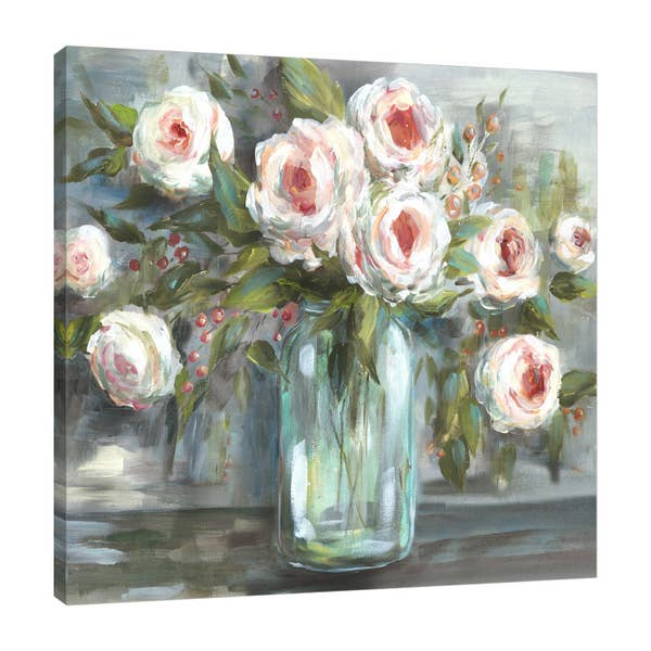 Blooms In A Mason Jar VII Gallery Wrapped Canvas Art-Art-humblys.com