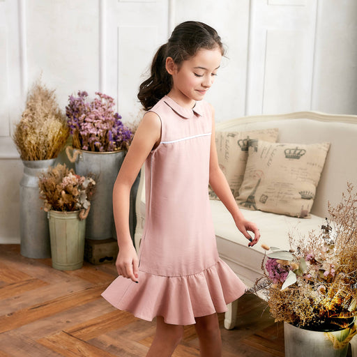 Pink Ruffle Drop Waist Dress for Girls-Kid's Clothing-humblys.com