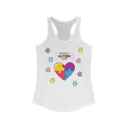 World Autism Day Puzzle Heart Racerback Tank Top-Tank Tops-humblys.com