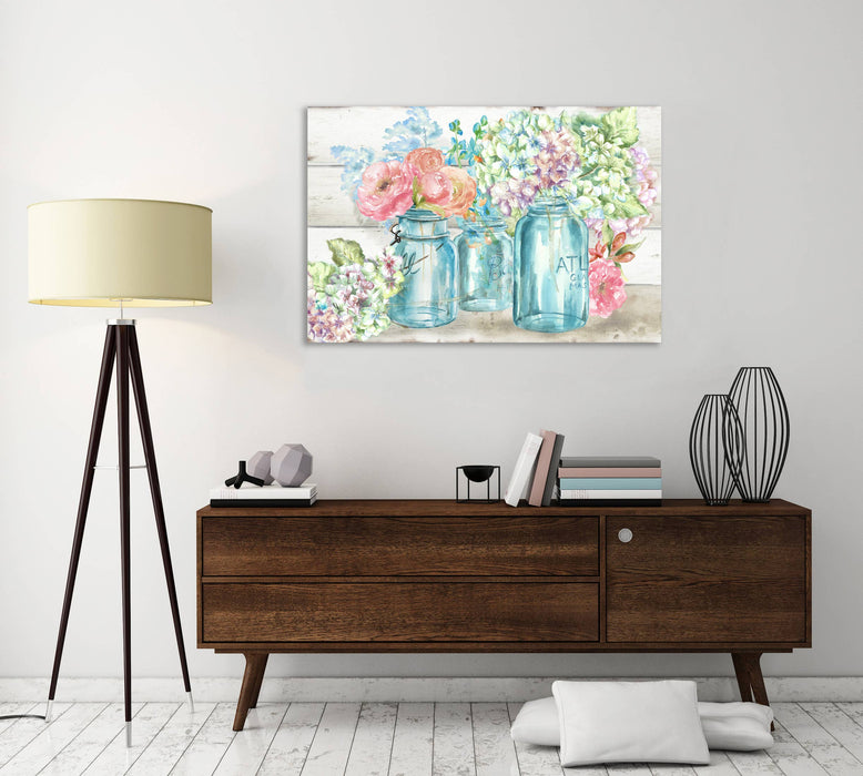 Colorful Flowers In Mason Jar II Gallery Wrapped Canvas-Art-humblys.com