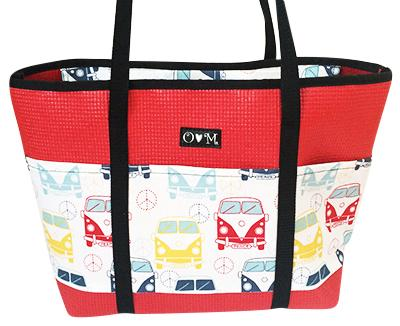 Molly Red VW Bus Print Large Tote Bag-Totes & Beach Bags-humblys.com
