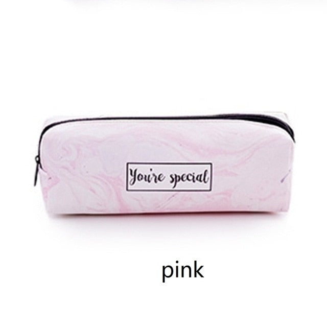 Large Capacity Marble Pattern Leather Pen Bag Box Waterproof Stationery Pouch Offic e School Supplies-school-humblys.com