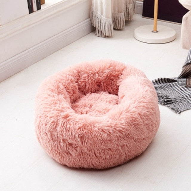 Calming Dog Bed Long Plush Donuts Round Cat Beds For Large Medium Small Dogs Cats Soft Comfort Warm Pet Bed-humblys.com