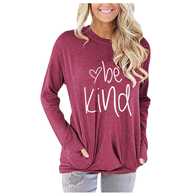 Women Be Kind T Shirts Casual Long Sleeve O-Neck Graphic Tops-humblys.com