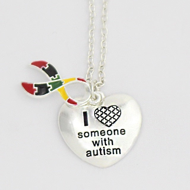 Hot Quote Necklace I Love Someone with Autism Handmade heart shape Pendant Glass Cabochon Dome Jewelry Glass Photo Necklace-humblys.com