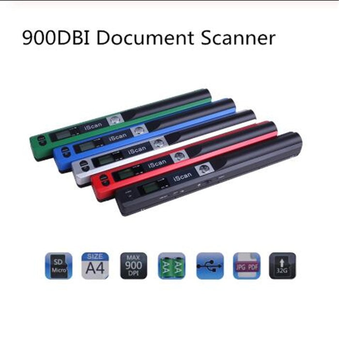 New Portable Scanner Mini Handheld Document Scanner A4 Book Scanner JPG PDF Format 300/600/900 DPI for scanning documents-humblys.com