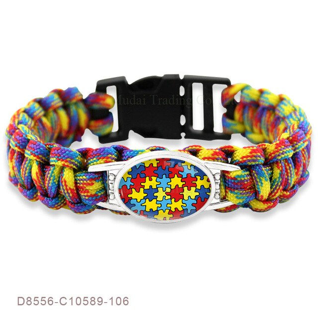 Puzzle Piece Autism Awareness Bracelets Hope Colorful 25*18mm Glass Cabochon Survival Paracord Charm Bracelets Men Women Jewelry-humblys.com