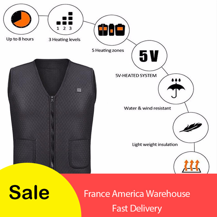 Men/Women Outdoor USB Infrared Heating Vest Jacket-Men's Clothing-humblys.com