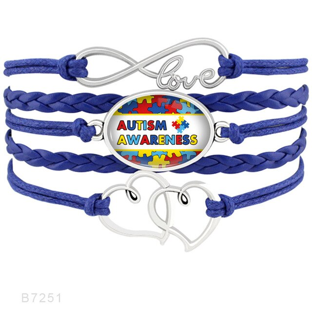 Infinity Love Rhinestone Puzzle Pieces Autism Mom Grandma Aunt Awareness Heart to Heart Charm Bracelets for Women-humblys.com