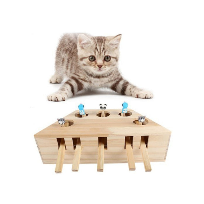 Cat Hunt Toy Chase Mouse Solid Wooden Interactive Maze Pet Hit Hamster With 3/5-holed Mouse Hole Catch Bite Catnip Funny Toy-pet care-humblys.com