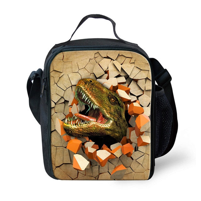 THIKIN 2019 Cool Dinosaur Pattern Kids Lunch Box Bag for Boys Girls School Lunchbox Cooler Bag Outside Travel Picnic Lanchira-school-humblys.com