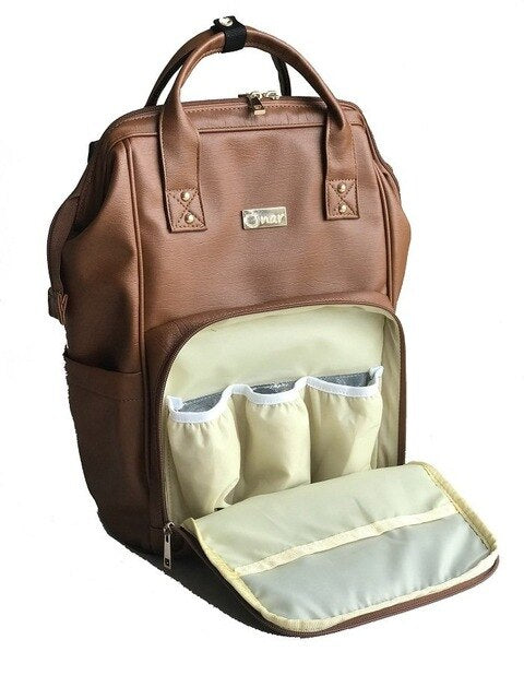 Faux Leather Baby Diaper Bag-Baby Product-humblys.com